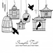 stock photo of caged  - Vintage bird cages - JPG