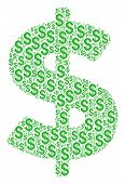 Dollar Mosaic Of American Dollars. Vector Dollar Pictograms Are Organized Into Dollar Mosaic. poster
