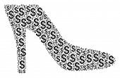 Lady Shoe Collage Of American Dollars. Vector Dollar Currency Icons Are Organized Into Lady Shoe Col poster