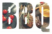 Bbq. Abbreviation Of The Word Barbecue With The Transparency Of The Barbecue Meal. Juicy Steak-barbe poster