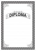 Ornate Rectangular Black And White Framework And Banner. Template For Certificate, Diploma, Announce poster