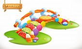 Bridge Of Candies. Sweet Land, Fruit Candy 3d Vector Icon poster