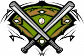 stock photo of fastpitch  - Vector Template of a Softball Bats Baseball Field Graphic - JPG