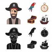 Pirate, Bandit, Hat, Bandage .pirates Set Collection Icons In Cartoon, Black Style Vector Symbol Sto poster