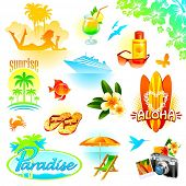 Tropical resort, travel and exotic holidays  - set of object and symbols. (Vector version of this work is available in my portfolio: # 49180882)