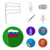 Russia, Country, Vodka, Accordion .russia Country Set Collection Icons In Outline, Flat Style Vector poster