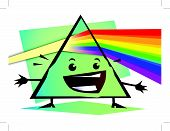 cartoon Newton prism with rainbow