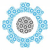 Gear Collage Of Cogwheels. Vector Cogwheel Icons Are Composed Into Gear Mosaic. poster