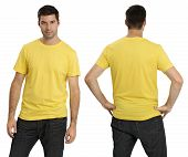 Male Wearing Blank Yellow Shirt