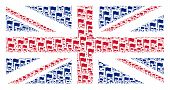 English Flag Collage Done Of Waving Flag Icons. Vector Waving Flag Design Elements Are Combined Into poster