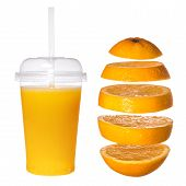 Fresh Orange Juice In A Transparent Glass With A Tube. Falling Sliced Orange On A White Background.  poster