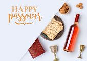 Jewish Holiday Passover Banner Design With Wine, Matzo And Seder Plate On White Background. View Fro poster