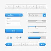 Blue Light User Interface Controls. Web Elements. Website, Software Ui: Buttons, Switchers, Arrows,  poster