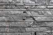 Corrugated Metal Texture Surface Background. Metal Profile Background. Old Metal. Damaged Metal. Met poster