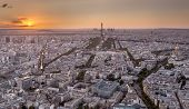 Drone Shot Of Metropolis With Amazing Mixed Architecture On Background Of Sunset Skyline poster