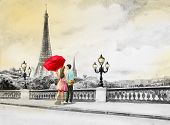 Paris European City Landscape. France, Eiffel Tower And Couple Young, Man And Woman Red Umbrella On  poster