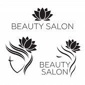Beautiful Woman Vector Logo Template For Hair Salon, Beauty Salon, Cosmetic Procedures, Spa Center.  poster