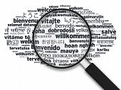 Magnifying Glass - Welcome In Different Languages