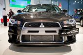 Moscow, Russia - August 25:  Black Car Mitsubishi  Lancer Evolution At Moscow International Exhibiti