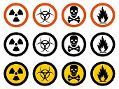 Dangerous Concept. Set Of Different Signs Of Chemical, Radioactive, Toxic, Poisonous, Hazardous Subs poster