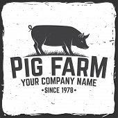 Pig Farm Badge Or Label. Vector Illustration. Vintage Typography Design With Pig Silhouette. Element poster