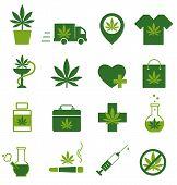 Marijuana, Cannabis Icons. Set Of Medical Marijuana Icons. Marijuana Leaf. Drug Consumption. Marijua poster