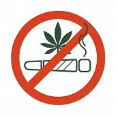 No Drugs Allowed. Marijuana Joint, Spliff, With Forbidden Sign - No Drug. Cannabis Cigarette Icon In poster