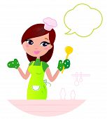 Young Beautiful Woman With Speech Bubble Cooking In The Kitchen.
