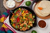 Shrimp Fajitas In Cast Iron Skillet poster