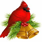 Cardinal Bird with Christmas bells
