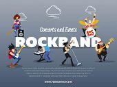 Concerts And Events Rockband Banner Illustration. Singer, Guitarist, Drummer, Solo Guitarist, Bassis poster