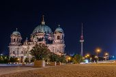 Berlin Cathedral And Tv Tower At Night, Germany, Europe. Famous Travel Destination, Landmark. City V poster