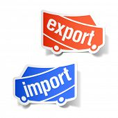 Export and import labels. Vector.