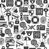 Security And Protection Seamless Pattern With Silhouette Icons. Data Security And Safe Background Pr poster