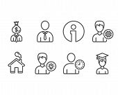 Set Of Manager, Time Management And Human Icons. Person Idea, Support And Student Signs. Work Profit poster