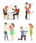 Lovely Couples. Funny Characters Romantic Male And Female. Illustrations For Valentines Day. Romanti poster
