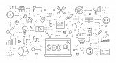 Seo Icons Set. Linear Illustrations Of Seo Projects. poster