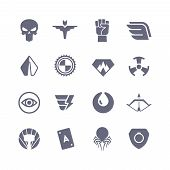 Superheroes Vector Icons. Super Power Superhero Heroic Symbols. Super Heroic Symbol Collection Illus poster