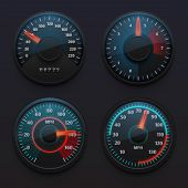 Futuristic Car Speedometers, Speed Indicators With Pointer For Vehicle Dashboard Isolated Vector Set poster