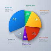 Business 3d Pie Info Chart For Presentation And Office Work. Infographic Vector Element. Info And In poster