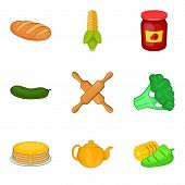Vegan Dietary Food Icons Set. Cartoon Set Of 9 Vegan Dietary Food Vector Icons For Web Isolated On W poster