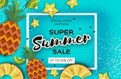 Pineappple, Carambola, Kiwi. Ananas And Starfruit Super Summer Sale Banner In Paper Cut Style. Origa poster