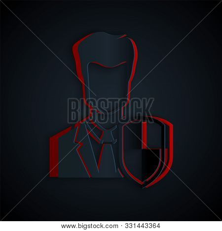 poster of Paper Cut User Protection Icon Isolated On Black Background. Secure User Login, Password Protected,