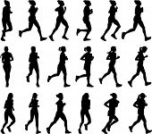 picture of long distance  - 18 high quality female marathon runners silhouettes - JPG