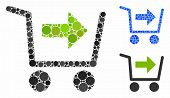 Purchase Cart Mosaic Of Round Dots In Different Sizes And Shades, Based On Purchase Cart Icon. Vecto poster