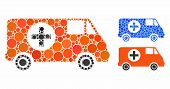 Emergency Car Composition Of Round Dots In Different Sizes And Color Tinges, Based On Emergency Car  poster