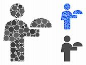 Waiter Mosaic Of Circle Elements In Different Sizes And Color Tinges, Based On Waiter Icon. Vector R poster