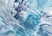 Blue Bouquet In Water Slanted To Side