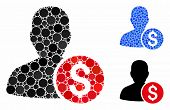 Investor Mosaic Of Round Dots In Variable Sizes And Color Tinges, Based On Investor Icon. Vector Rou poster