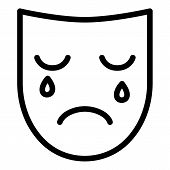 Sad Depression Mask Icon. Outline Sad Depression Mask Vector Icon For Web Design Isolated On White B poster
